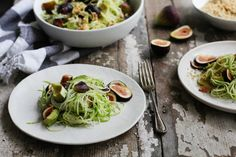 Nutrition Stripped | Fig Zucchini Pasta with Hemp Seed Crumble | http://nutritionstripped.com