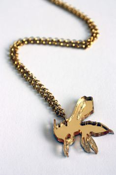 Gold acrylic laser cut bee necklace by workingclasp on Etsy, £10.00 (ships worldwide)