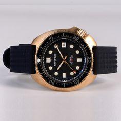 Bronze watch 44mm turtle man diver watch