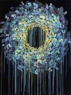 """Sage Vaughan - """"Ring Cycle (Dealing in Subterfuges)""""  2012. Oil, Acrylic, Ink, and Vellum on Canvas (122 cm x 91.4 cm)"""