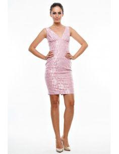 Rochie roz din brocart, Anka`s - Material: 96% poliester, 4% spandex.Culoare: roz. - Lungime: 96 cm.Detalii: rochia prezinta captuseala.<br/>Marimi disponibile: XS,S,M,L,XL Colectia Rochii de ocazie de la  www.rochii-ieftine.net