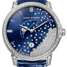 Gorgeous jeweled ladies timepiece, competing for the Foundation of the Grand Prix d'Horlogerie de Genève (GPHG) 2014  #harrywinston gphg2014_harry_winston_midnight_diamond_drops_39mm_01