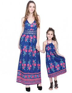714c52847c7 Mother and Daughter Outfits Sundress Ethnic Dress Bohemian Style Beach Dress  Summer Maxi Long Dress Baby Girls Clothing
