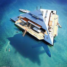 Luxury Yacht looks like a Leviating Spaceship - http://viralray.com/luxury-yacht-looks-like-a-leviating-spaceship/