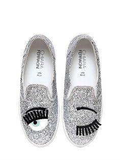 30mm Blik Eye Glitter Slip-On Sneakers Chiara Ferragni