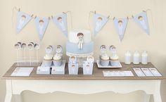 Postreadicción galletas decoradas, cupcakes y cakepops: Mesa dulce de comunión de niño