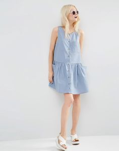 Image 4 ofASOS Sleeveless Button Through Smock Dress