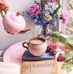 Hope September is treating you well. Join me for a cuppa? Vanilla Bean Chai is in my cup. Welcome September, Happy September, September Birthday, Café Chocolate, Coffee Is Life, Coffee Time, Coffee Photography, Tea Art, Coffee And Books