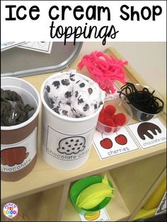 How to set it up and embed learning opportunities. Perfect for preschool, pre-k, and kindergarten classrooms. I also used this in first grade and made it into a math game Dramatic Play Themes, Dramatic Play Area, Dramatic Play Centers, Preschool Dramatic Play, Play Ice Cream, Ice Cream Theme, Role Play Areas, Prop Box, Restaurant Themes