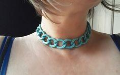 Turquoise Blue Crackle Alluminium Choker / Allergy Free / Tarnish resistant / Adjustable / Curb Chain Necklace Versatile women's gift by ClassicPunkDesign on Etsy Women's Gift, Jute Bags, Allergy Free, Boho Bride, Here Comes The Bride, Collar Necklace, Gifts For Women, Bones, Crochet Necklace
