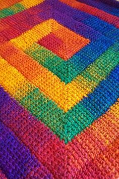 Art Loving the #rainbow colors of this Simply Spiraled #Crochet Square or Rectangle pdf pattern caring-stitches