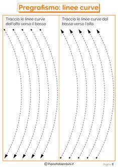 Schede di Pregrafismo di Percorsi con Linee Rette e Curve | PianetaBambini.it Line Tracing Worksheets, Preschool Worksheets, Tracing Sheets, Logic Games, Pre Writing, Montessori, Activities For Kids, Kindergarten, Coding