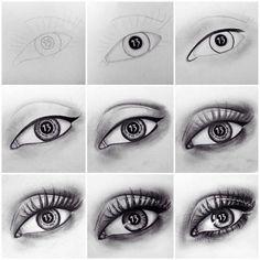 Amazing Learn To Draw Eyes Ideas. Astounding Learn To Draw Eyes Ideas. Easy Drawing Steps, How To Draw Steps, Step By Step Drawing, Learn To Draw, Easy Drawings, Pencil Drawings, Realistic Eye Drawing, Drawing Eyes, Eye Drawing Tutorials