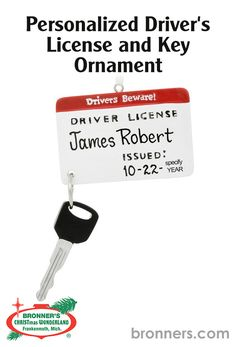 Personalized Driver's License And Key Ornament from Bronner's Christmas store of Christmas ornaments and Christmas lights Special Keys, Driver's License, New Drivers, Personalized Ornaments, White Ribbon, Paint Pens, Caption, Resin, Great Gifts