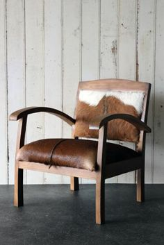 The Totally Unique Goat Hide Armchair - Chair Two.definitely needed in pairs Industrial Interiors, Industrial Furniture, Home Furniture, Furniture Design, Cowhide Furniture, Furniture Ideas, Cosy Room, Lodge Style, My Living Room