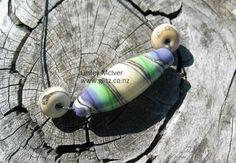Ivory Sea Green & Violet Focal Barrel by GlitzArtGlass on Etsy, $32.00