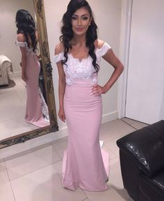 143 usd.Off the Shoulder Prom Dresses,Pink Prom Dresses,Lace Top Bridesmaid Dresses,Women Formal Evening Gowns