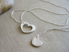 Heart Necklace Set Recycled Silver Sterling Silver Mother Daughter Best Friends Sisters Mothers Day - Heart of My Heart