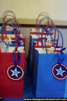 This weekend we celebrated my youngest nephew's third birthday with a Captain America-themed bash. I can't speak for your family, but birthdays are big in mine. Avengers Birthday, Superhero Birthday Party, 4th Birthday Parties, Birthday Ideas, Captain America Party, Captain America Birthday, Third Birthday, Treat Bags, Decor Room