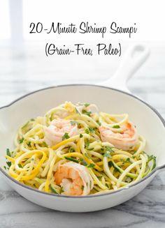 Quick Shrimp Scampi with Squash Noodles (Paleo, Grain-Free) via DeliciouslyOrganic.net