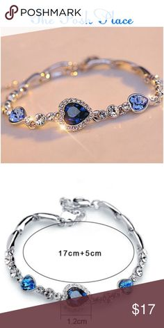 Lovely Fun Fashion Jewelry Bracelet   Lovely Fun Fashion Jewelry Bracelet  Blue Hearts, Crystal Beads and Silver Accents  Jewelry Bracelets