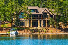 """CLICK2TOUR """"Lakeview Lodge"""" in The Ridge. 4BR/4.5BA, 2 living areas, deep covered porches & stone patios, beautiful wood and beam ceilings, stone fireplace, deep water, pier, great swimming. For more details call/text Becky Haynie, 334-312-0928, Lake Martin Realty. Photos & tour by Sherry Watkins…I Shoot Houses…http://www.Go2REassistant.com/VirtualTours.htm"""