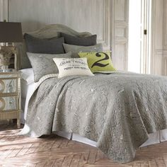@Overstock - Add a stylish touch to your home decor with this five-piece quilt set. A grey floral and bird pattern finish this set of shams, decorative pillow covers and a quilt.   http://www.overstock.com/Bedding-Bath/Lyon-Grey-5-piece-Queen-size-Quilt-Set/6626462/product.html?CID=214117 $78.65