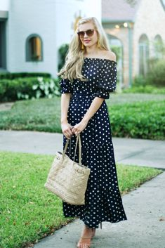 Falling for Polka Dots under $30 | maxi dress | off the shoulder dress | navy dress | under $50 | under $30 | fall style | how to style a maxi dress | fall maxi dress | tassel earrings | blue and yellow
