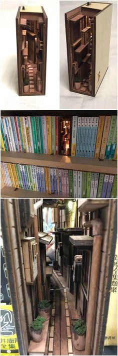 Mini street scene in bookcase - Pin Coffee Love this. Mini street scene in bookcase -<br> Love this. Mini street scene in bookcase Love this. Mini street scene in bookcase Cool Ideas, Diy Ideas, Cool Bookshelves, Book Shelves, Diy Bookcases, Bookshelf Styling, Book Nooks, Reading Nooks, Cool Stuff