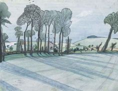 John Nash (English, 1893-1977), Spring landscape, c.1915. Pencil, watercolour, coloured crayon and pen and black ink, 12 x 15 3/8 in.