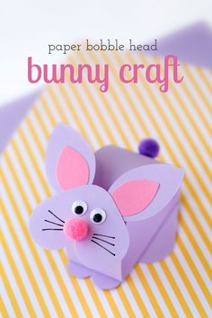 Paper Bobble Head Bunny Craft - Just in time for Easter, kids can learn how to make an adorable paper bobble head bunny craft at school or home.
