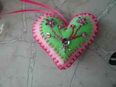 Hand Embroidered Pink and Green Felt Ornament with sequins and beads
