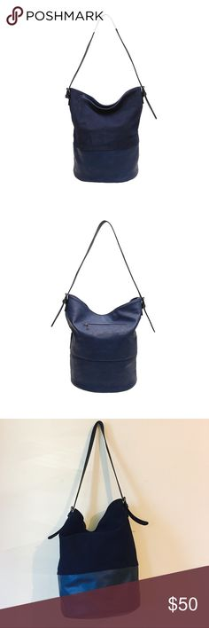 Real Leather Navy Blue Shoulder Bag Used several times and in Excellent condition. Very roomy. Super chick! Purchased from Yargici, one of the oldest high-brand clothing and accessory brands in Turkey. Yargici Bags Shoulder Bags