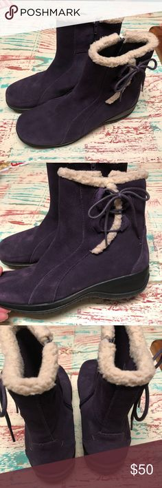 Women's Clarks Plum Nubuck Suede Boots size 9 Ladies Clarks Plum Purple Nubuck Leather Ankle Boots Size 9 Minimally worn, if at all. Ready to enjoy this upcoming spring and summer season.  Check out my closet for other Born and Clark shoes to bundle Clarks Shoes Ankle Boots & Booties