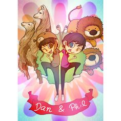 Dan and Phil Cartoon Poster (49 SAR) ❤ liked on Polyvore featuring home, home decor, wall art, comic book wall art, paper wall art, comic posters, cartoon posters and comic book posters