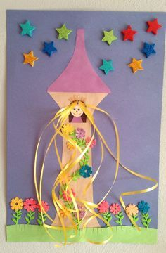 Rapunzel tower craft - princess craft - preschool craft art video for kids Craft Activities For Kids, Preschool Crafts, Kids Crafts, Arts And Crafts, Disney Crafts For Kids, Fairy Tale Activities, Craft Projects, Free Preschool, Preschool Classroom