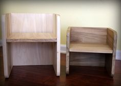 Montessori Cube Chair Set 1 large 1 small by NaturaBaby on Etsy