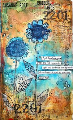 Susanne Rose Designs: Art Journal Page Video with Rubber Dance and Brushos