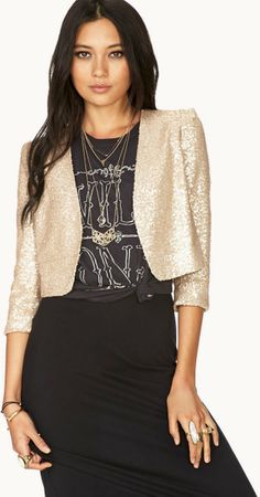Forever 21 Showstopper Sequin Cropped Jacket in Gold (Champagne) - Lyst