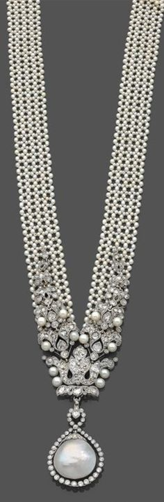 A Belle Epoque platinum, natural and cultured pearl bayadere sautoir, attributed to Cartier, circa Cultured Pearl Necklace, Cultured Pearls, Pearl Jewelry, Jewelry Art, Fine Jewelry, Jewelry Design, Jewellery, Edwardian Jewelry, Antique Jewelry
