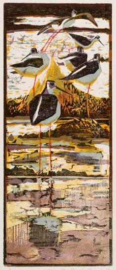 Robert Greenhalf (1950-): Black-Winged Stilts, woodcut