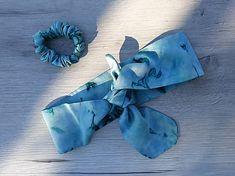jarisse / Hodvábna šatka do vlasov+gumička - Oceľovo-zelená