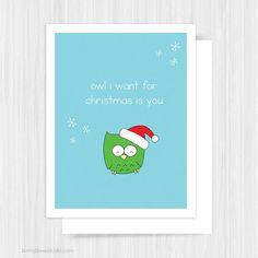 Cute Owl Love Christmas Card by SunnyDoveStudio #handmade #christmas #cards #greetingcards #christmascards #cute #kawaii #owl #pun #love #holiday #gifts #etsy