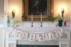 Baby girl baby shower set up by Panache in Negaunee, MI.  Photography by Daniele Carol Photography.  Love this shabby chic baby shower!
