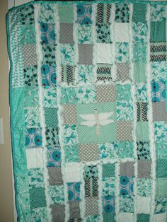 Gorgeous Original Dragonfly Dreams Memory Baby Quilt Gentle teal, white, gray Hand Embroidered Heirloom Rag Quilt
