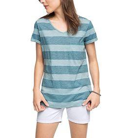 edc by ESPRIT Damen T-Shirt Basic Gestreift, Blau (Light Turquoise 480), 42 (Herstellergröße: XL)