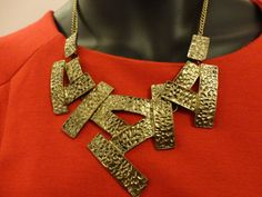 Asymmetric rustic gold necklace by OMyGlam on Etsy