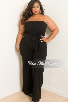 467a6379d6 New Plus Size Strapless Jumpsuit with Attached Tie in Black