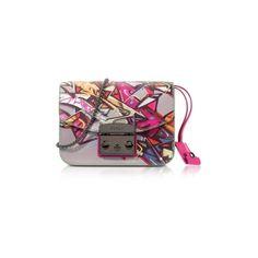 Furla Handbags Metropolis Toni Pinky Graffiti Mini Crossbody Bag ($380) ❤ liked on Polyvore