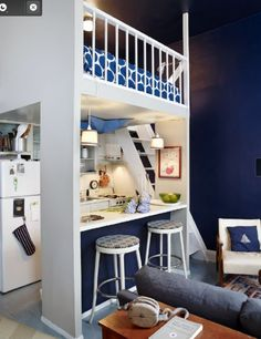 Guest apt idea.  Super cute! Love the colored wall that matches the colored half wall.  Blue is happy too!